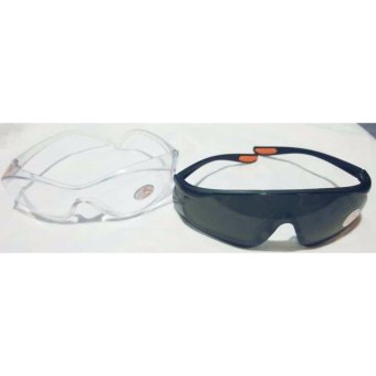 UV 400 Safety Goggles Spectacles Multi Purpose Sun Glass Clear andBlack