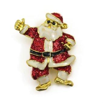Vanker Xmas Christmas Gift Santa Claus Shirt Decor Alloy Gold-plated Brooch Pin Belt Man Style