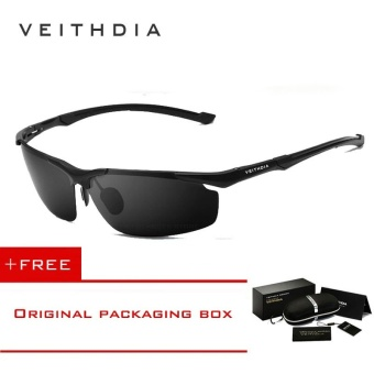 VEITHDIA Aluminum Magnesium Men's Sun Glasses Polarized Sports Driving Sun Glasses oculos Male Eyewear Sunglasses For Men 6592(Black) [ free gift ]