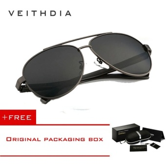 VEITHDIA Aluminum Magnesium Polarized Mens Sunglasses Men Driving Sun Glasses For Men Eyewear Accessories Oculos de sol masculino 2605 (Grey) [ free gift ]