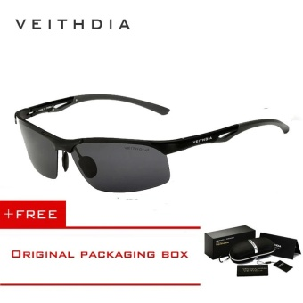 VEITHDIA Aluminum Magnesium Polarized Mens Sunglasses Rimless Driving Sun Glasses Sport Eyewear Accessories For Men male 6591(Black) [ free gift ]