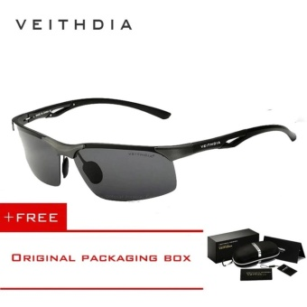 VEITHDIA Aluminum Magnesium Polarized Mens Sunglasses Rimless Driving Sun Glasses Sport Eyewear Accessories For Men male 6591(Grey)[ free gift ]- intl