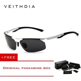 VEITHDIA Aluminum Magnesium Polarized Mens Sunglasses Rimless Driving Sun Glasses Sport Eyewear Accessories For Men male 6591(Silver)[ free gift ]- intl