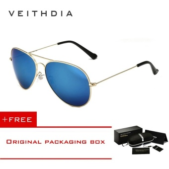 VEITHDIA Brand Classic Fashion Polarized Sunglasses Men/Women Colorful Reflective Coating Lens Eyewear Accessories Sun Glasses 3026(Gold Blue)[ free gift ]