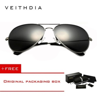 VEITHDIA Brand Classic Fashion Polarized Sunglasses Men/Women Colorful Reflective Coating Lens Eyewear Accessories Sun Glasses 3026(Grey)[ free gift ]- intl