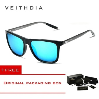 VEITHDIA Brand Unisex Retro Aluminum+TR90 Sunglasses Polarized Lens Vintage Eyewear Accessories Sun Glasses For Men/Women 6108 (blue)[ free gift ]