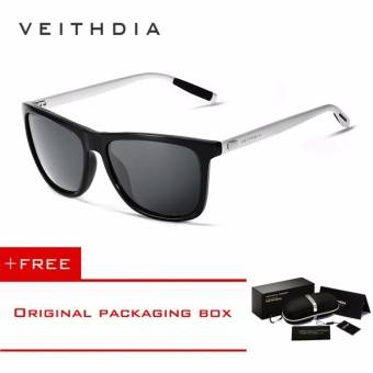 VEITHDIA Brand Unisex Retro Aluminum+TR90 Sunglasses Polarized Lens Vintage Eyewear Accessories Sun Glasses For Men/Women 6108 (Grey)[ free gift ] - intl