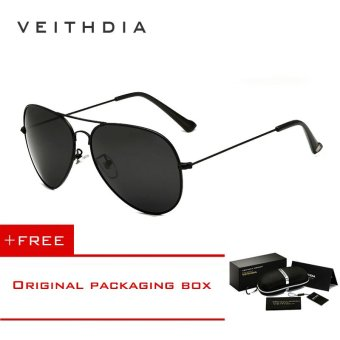 VEITHDIA Classic Fashion Polarized Sunglasses Men/Women Colorful Reflective Coating Lens Eyewear Accessories Sun Glasses 3026(Grey) [ free gift ]