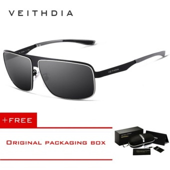 VEITHDIA Stainless Steel Aluminum Polarized UV400 Men's Square Vintage Sun Glasses Male Eyewear Sunglasses For Men 2492[ free gift ] - intl