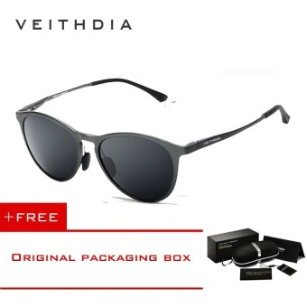 VEITHDIA Unisex Retro Aluminum Magnesium Brand Sunglasses Polarized Lens Vintage Eyewear Accessories Sun Glasses Men/Women 6625 (Gray)[ free gift ]