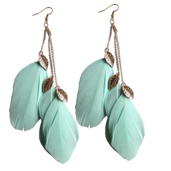 Velishy Handmade Leaf Feather Long Drop Hook Earrings Green