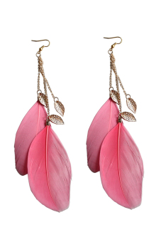Velishy Handmade Leaf Feather Long Drop Hook Earrings Watermelon Red