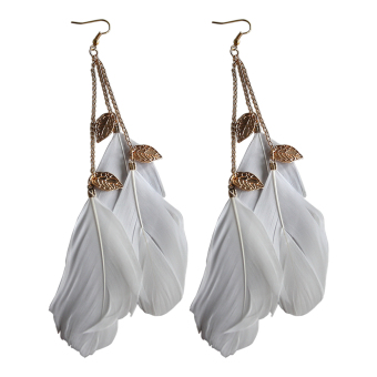 Velishy Handmade Leaf Feather Long Drop Hook Earrings White