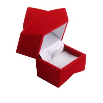Velvet Earring Jewelry Display Storage Box Gift Case Holder (Red Pentagram)