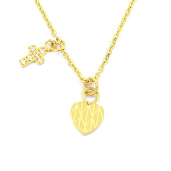 Venice Cross and Heart Gold Plated Necklace