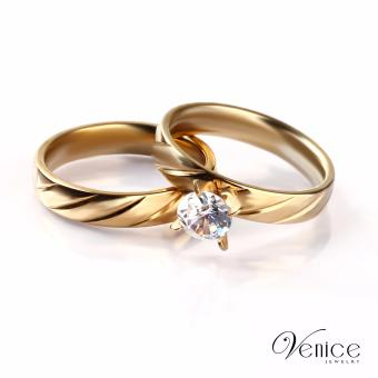 "Venice Gene Mince Gold Plated with Diamond Couple Ring ""8"""