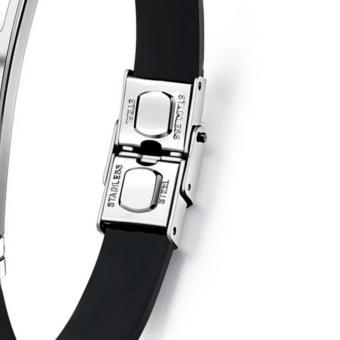 Venice Jewelry Black Bradley Clasp Design Titanium Stainless SteelBlack Silicone Unisex Bracelets - 2