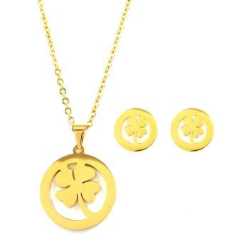 Venice Jewelry Clover Gold Necklace and Earrings Jewelry Set (18kGold Plated)