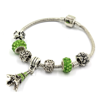 Venice Jewelry Eiffel Tower Charm Bracelet ( Green )