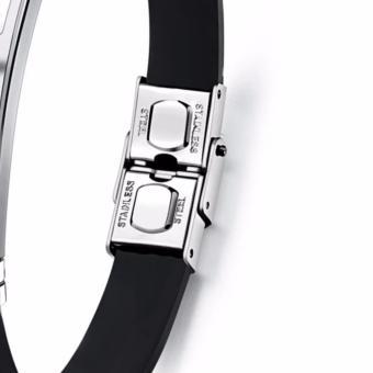 Venice Jewelry Gold Caleb Clasp Design Titanium Stainless SteelBlack Silicone Unisex Bracelets - 2