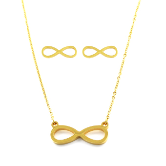 Venice Jewelry Gold Infinity Necklace and Earrings Jewelry Set (18k Gold Plated)