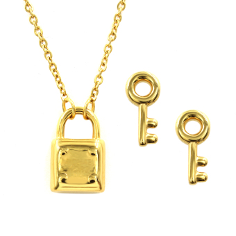 Venice Jewelry Gold Padlock Necklace and Key Earrings Jewelry Set(18k Gold Plated)