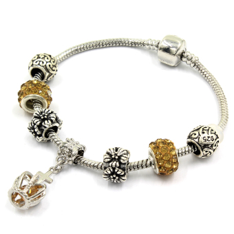 Venice Jewelry Royal's Crown Charm Bracelet ( Golden Brown) - 2