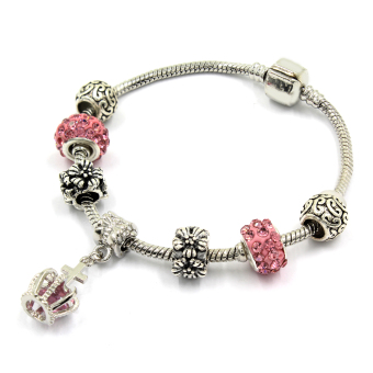 Venice Jewelry Royal's Crown Charm Bracelet (Pink)