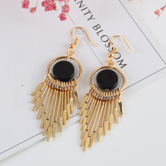 Versatile elegant stud long tassled earrings