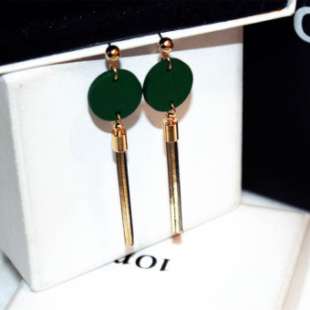 Versatile green elegant female earrings tassled stud