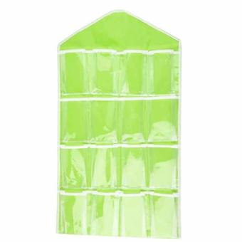 VeryGood 16 Pockets Over Door Underwear/Socks/Jewelry OrganizerHanging Hanger Closet Space Storage (green) #32228
