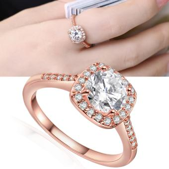 Victoria AKR002 Zircon Inlay Entourage Plated Jewelry Ring (ROSEGOLD)