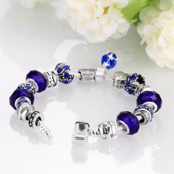 Victoria Jewelry Charm Beaded Bracelet(Blue/Silver) - 2