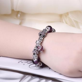 Victoria Jewelry Charm Beaded Bracelet(Violet/Silver) Price Philippines