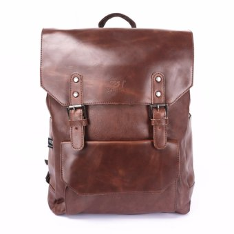 Vintage Casual Backpack PU Leather Rucksack Laptop Bag Backpacks3526(Brown) - intl
