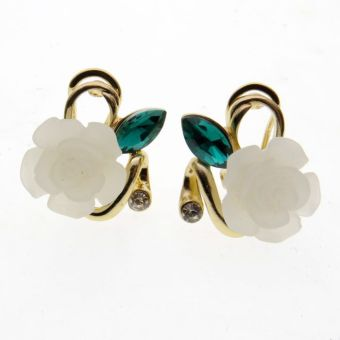 Vintage European and American blue exaggerated antique earrings flowers