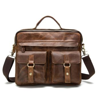 Vintage Genuine Leather Laptop Briefcase messenger satchel bag - intl