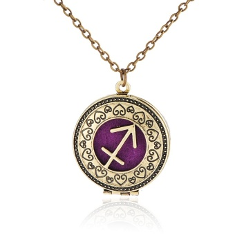 Vintage Perfume Essential Oil Diffuser Zodiac Sign Round Pendant Necklace Retro Alloy Copper Chain Jewelry Gifts Fashion Accessories Charming Jewelry for Women Girl Gift Party - intl
