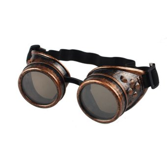 Vintage Style Steampunk Goggles Welding Punk Glasses Cosplay Red