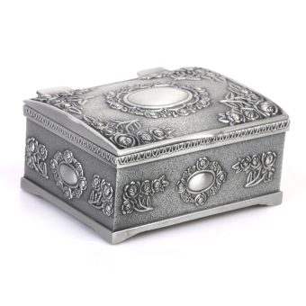 Vintage Treasure Chests Shape Tin Jewelry Ring Box Gift Case Antique Silver