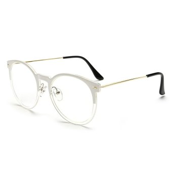 Vintage Womens Man Eyeglasses Reading Glasses Retro Unisex Metal Eye Glasses Frame Optical UV Protection Clear Lenses CJ062-06 (Half White Frame)