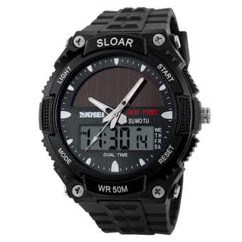 Water-Resistant LCD Watch Wrist Watch Sport Watches (Black)