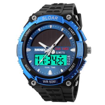 Water-Resistant LCD Watch Wrist Watch Sport Watches (Blue)