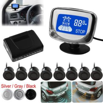 Waterproof 8 Rear and Front View Car Parking Sensors with Display Monitor (Silver Sensor)