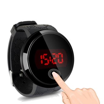 Waterproof Men LED Touch Screen Day Date Silicone Wrist Watch Black