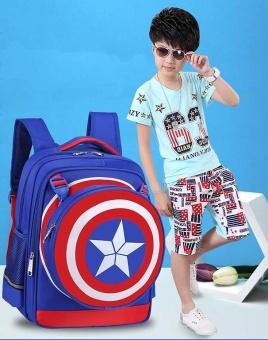 Waterproof School Bag Backpacks Boys Kids for Captain America(Blue) - intl