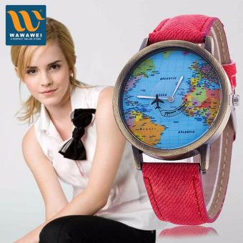 Wawawei 2017 New Women Watches Global Travel World Map PU LeatherFashion Leather Quartz Watches Clock For Ladies Montre Femme (Pink)