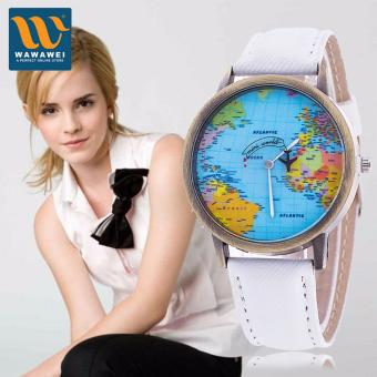 Wawawei 2017 (White) New Women Watches Global Travel World Map PULeather Fashion Leather Quartz Watches Clock For Ladies MontreFemme