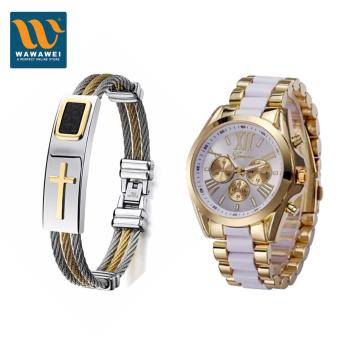 Wawawei Fashion Cross Jesus Premium Stainless Steel Bracelet WithGeneva Three Eyes Strip Women's Two-Tone Stainless Steel StrapWatch (Gold/White)