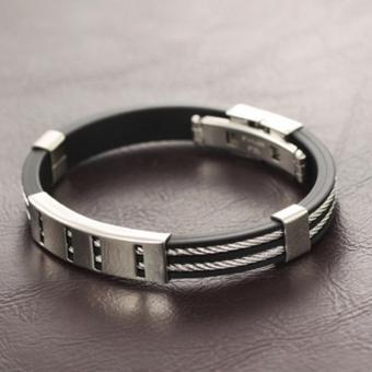 Wawawei Fashion Glamorous Silver Chain Titanium Silicone LeatherMen Bracelet with Free Camera Clip Lens - 4